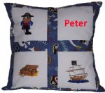PERSONALISED EMBROIDERED CUSHION WITH PIRATE THEME